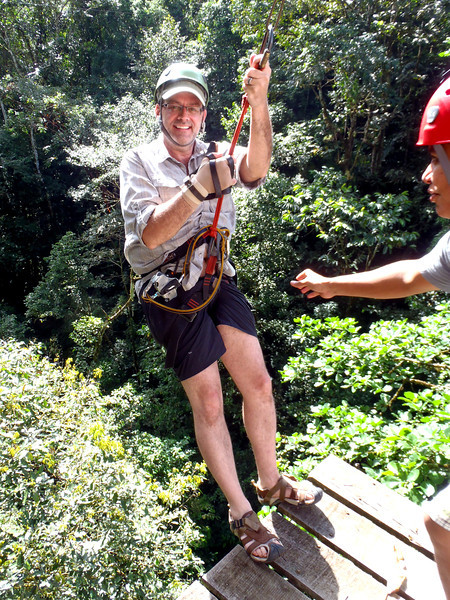 Okay so I lived through the first couple of the 9 zip-lines. Did I mention there are 2 rappels? Beyond that 2 ridiculous suspension bridges and 1 Tarzan swing? What did I get myself into?